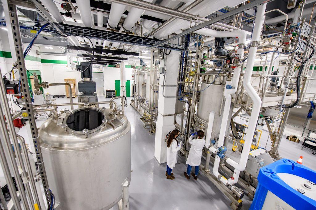 Bioreactors inside GreenLight's manufacturing facility in Rochester, New York.